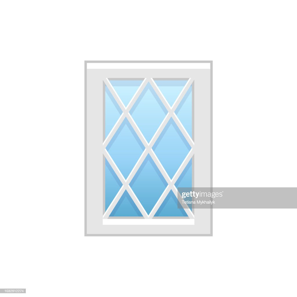 Vector illustration of traditional vinyl casement window. Flat icon of aluminum window with diagonal muntins. Isolated on white background.
