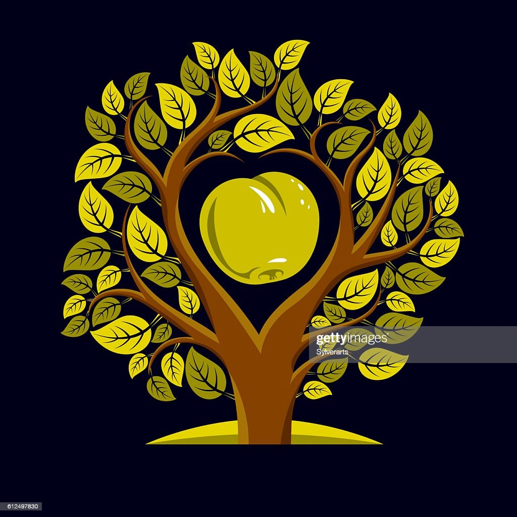 Vector illustration of tree with an apple inside