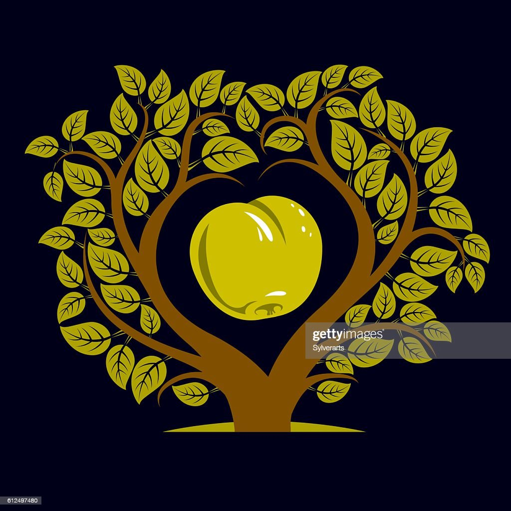 Vector illustration of tree with branches in shape of heart