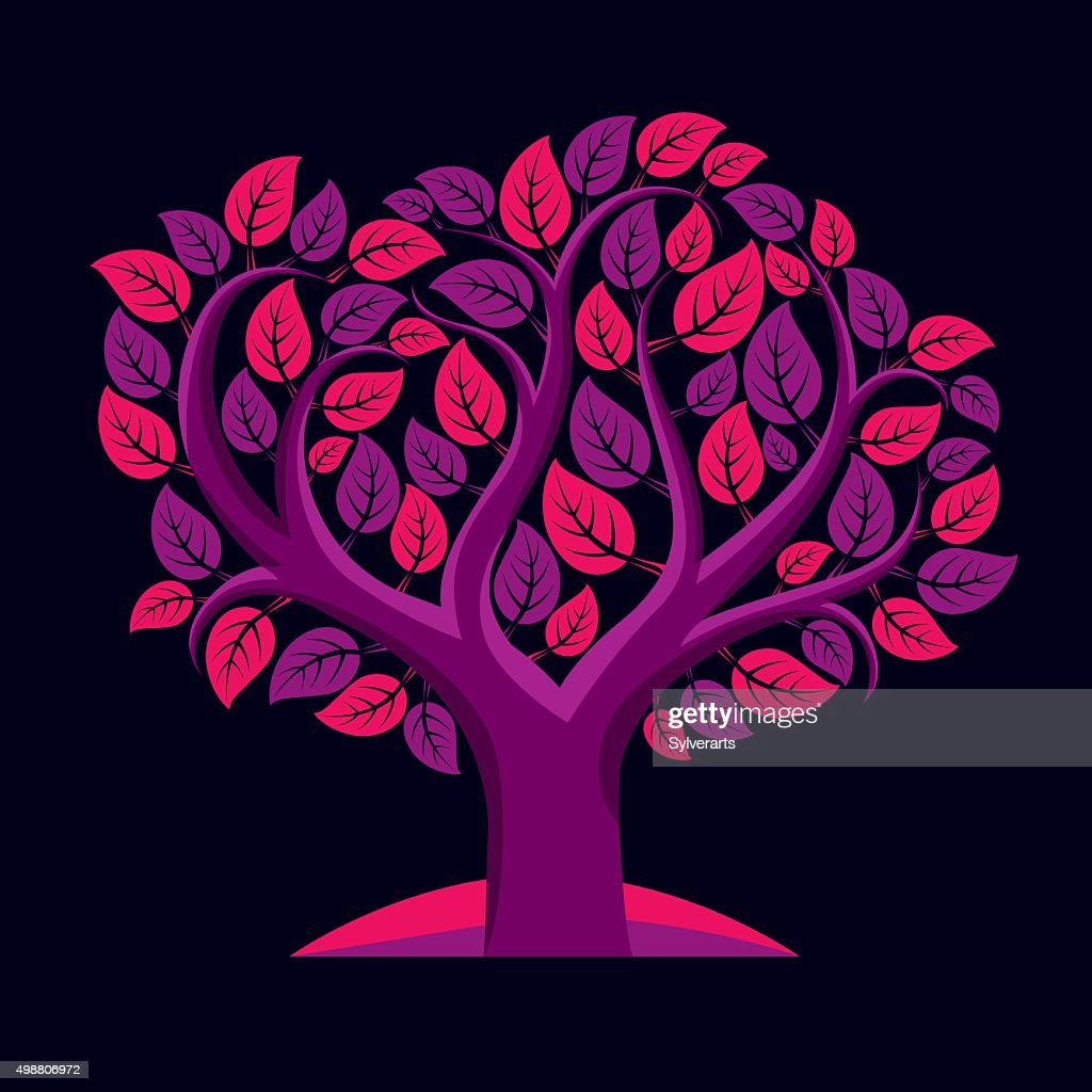Vector illustration of tree with decorative purple leaves