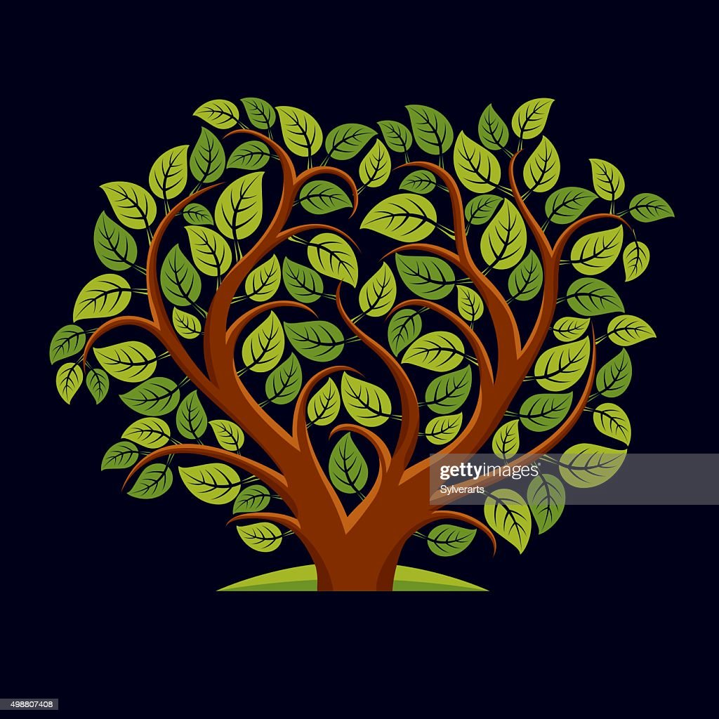 Vector illustration of tree with leaves in shape of heart.