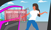 Vector illustration of Trendy Viral dance challenge while car moving and door is opened.