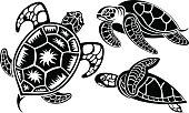 Vector illustration of turtles