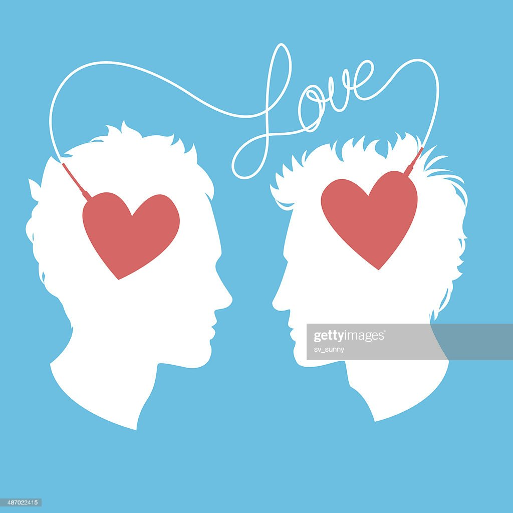 Vector Illustration Of Two Men Connected By Love Wire Vector Art ...