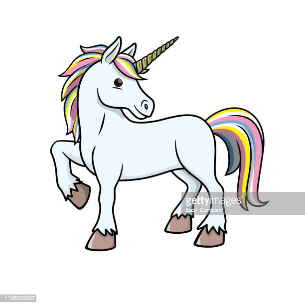 vector illustration of unicorn isolated on white background. - unicorn stock illustrations
