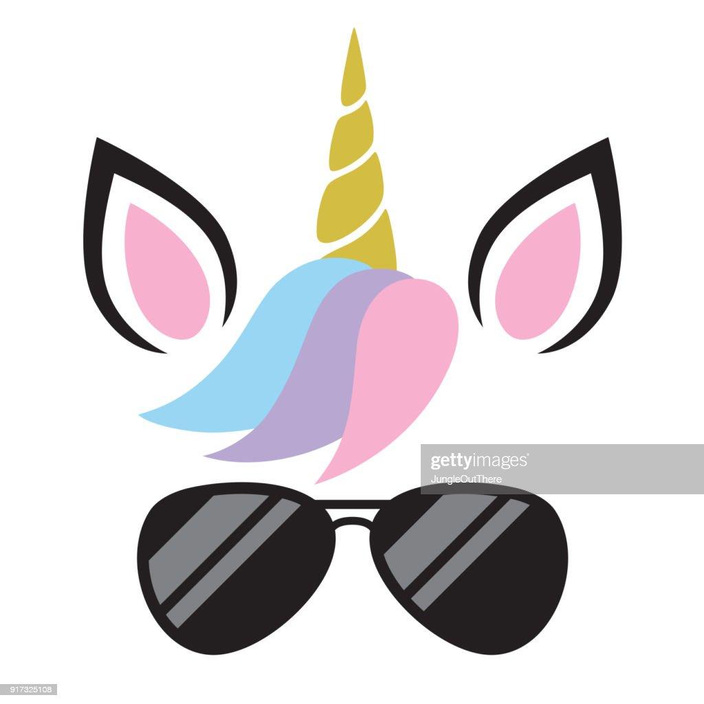 Vector Illustration of Unicorn Wearing Sunglasses