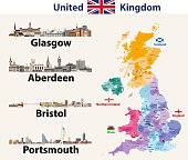Vector illustration of United Kingdom cities skylines icons. High detailed map of United Kingdom with countries and regions borders.