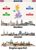 Vector illustration of United Kingdom cities skylines icons. High detailed map of United Kingdom with countries and regions borders. All layers editable, labelled and well organazed