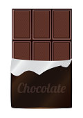 Vector illustration of unpacked dark chocolate