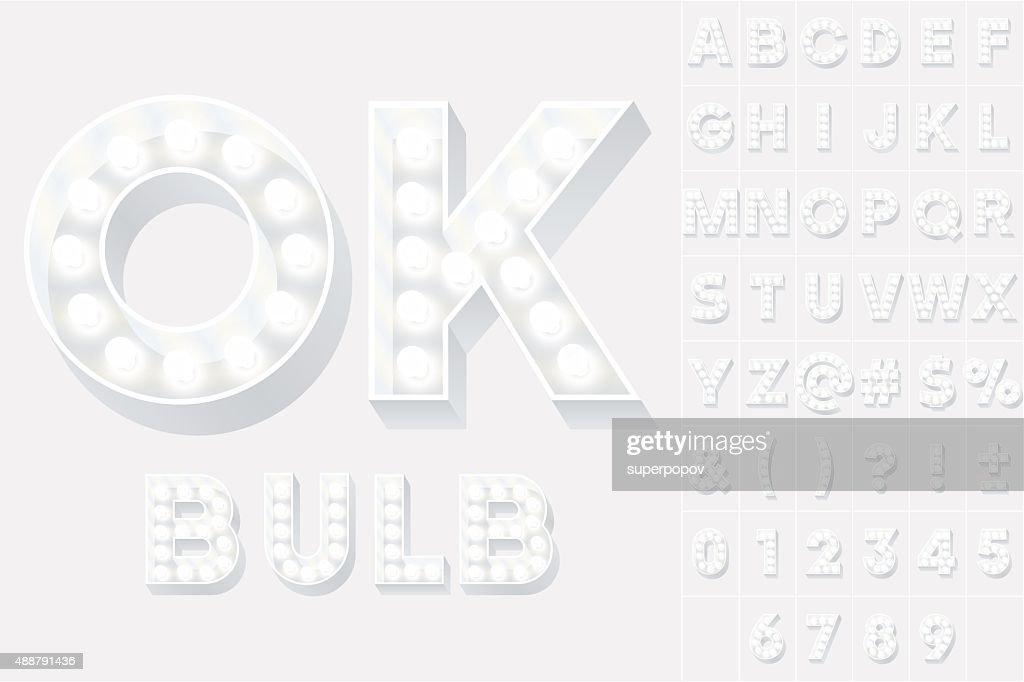 Vector illustration of unusual white lamp alphabet for light board