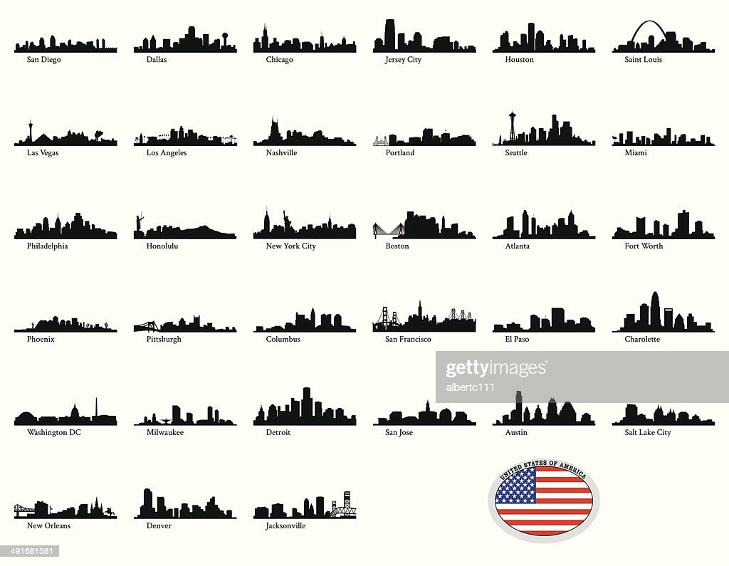 Vector illustration of US cities