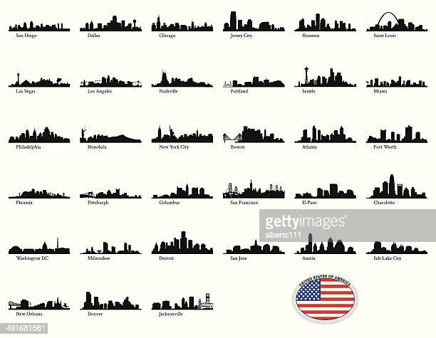 vector illustration of us cities - skyline stock illustrations