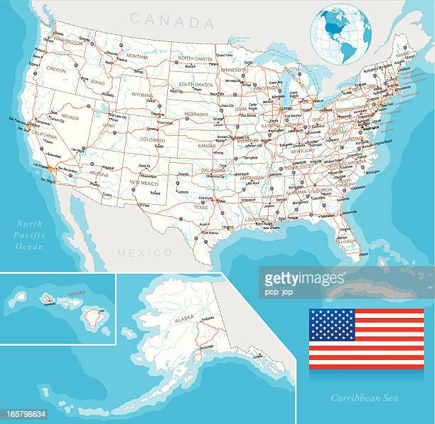 Vector illustration of U.S. highway map, layered