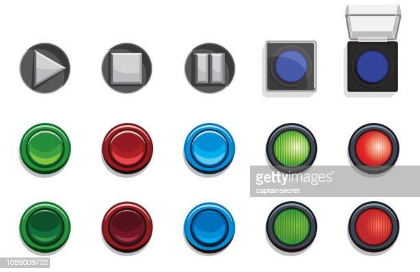 Vector Illustration of Various 3D Buttons and Lights