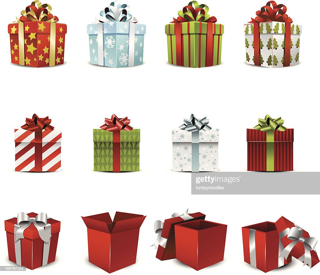 Vector illustration of various holiday gift boxes