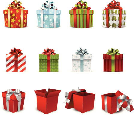 Vector illustration of various holiday gift boxes - gettyimageskorea