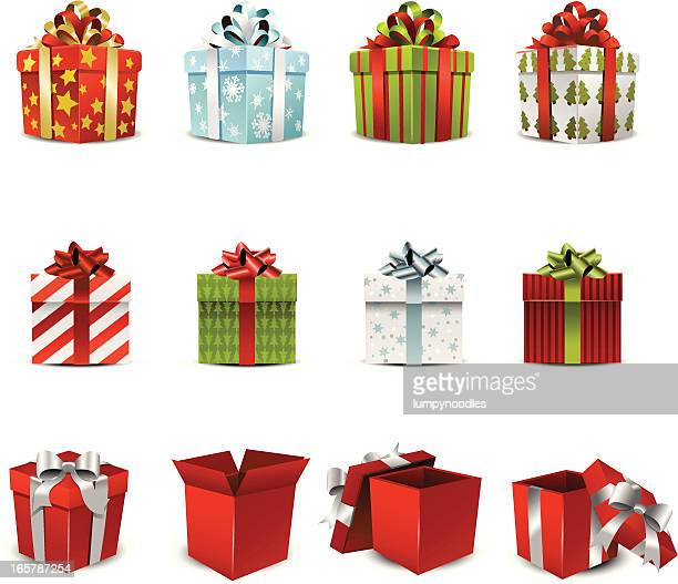 vector illustration of various holiday gift boxes - tied bow stock illustrations