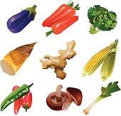 Vector illustration of vegetables set