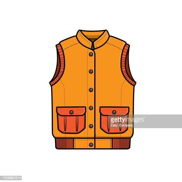 vector illustration of vest isolated on white background. - jacket stock illustrations