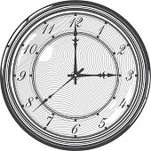 Vector illustration  of  vintage clock or watch in engraved style
