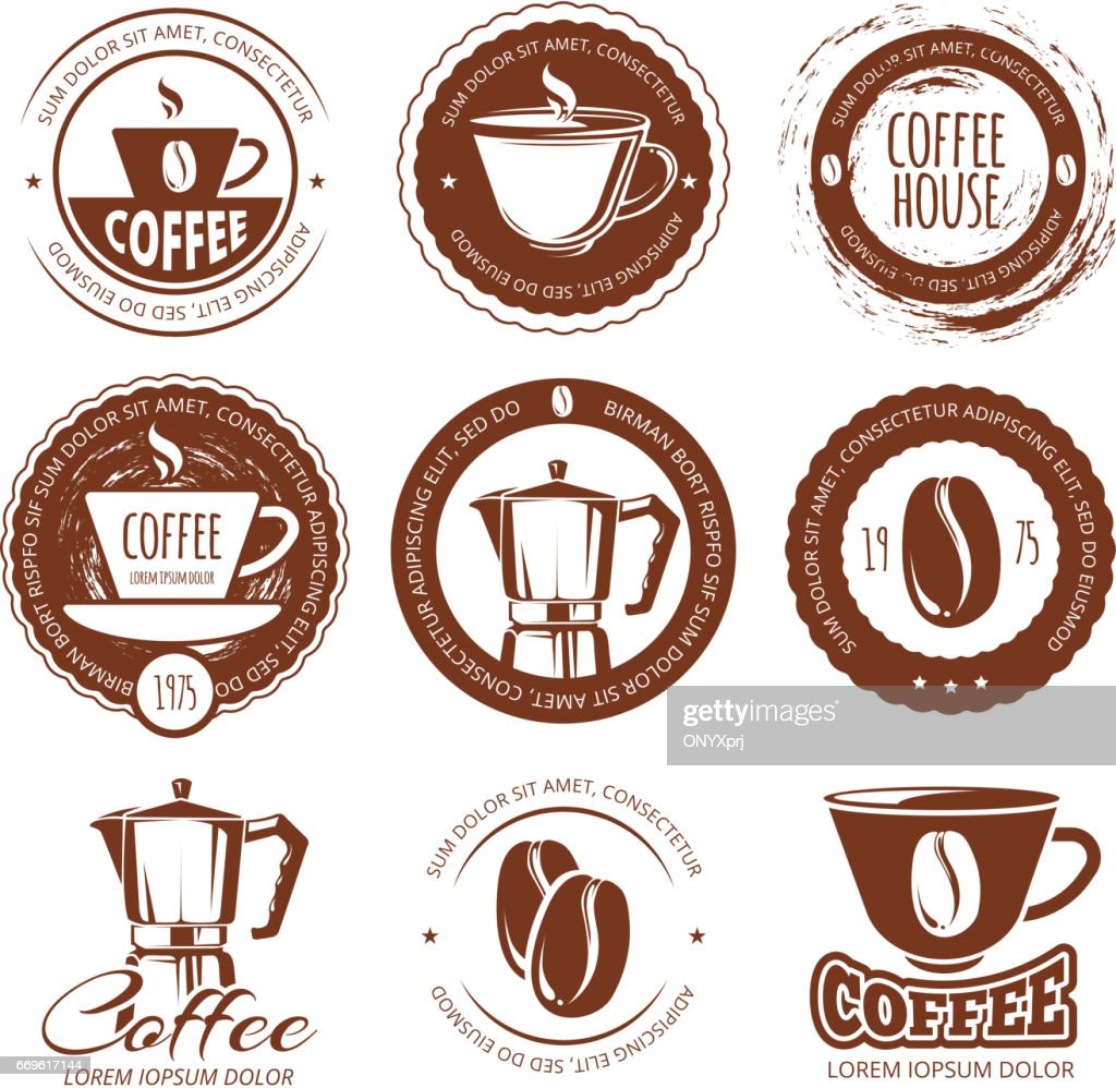 Vector illustration of vintage coffee labels and badges. icon cafe