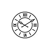Vector illustration of vintage wall clock. Line icon of large round decorative clock with roman numerals. Isolated on white background.