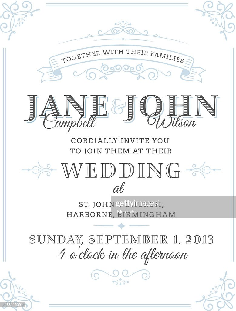 Vector illustration of vintage wedding invitation