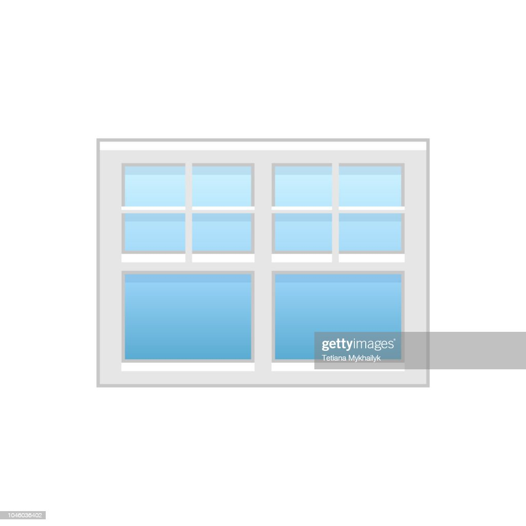 Vector illustration of vinyl casement or sash window. Flat icon of traditional aluminum windows. Isolated on white background.
