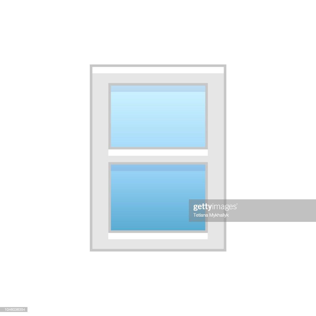 Vector illustration of vinyl double-hung sash window. Flat icon of traditional aluminum sash window. Isolated on white background.