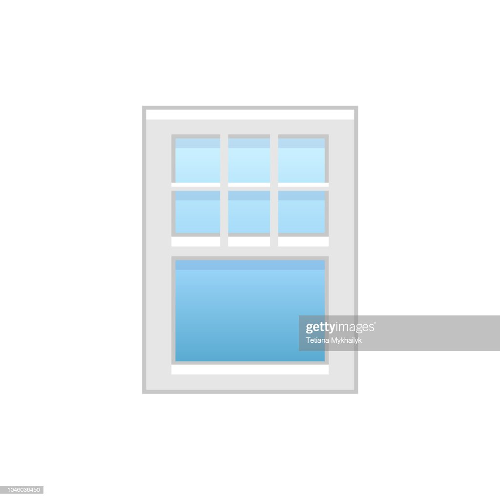 Vector illustration of vinyl single-hung sash window. Flat icon of traditional aluminum sash window with decorative bars on top panel. Isolated on white background.