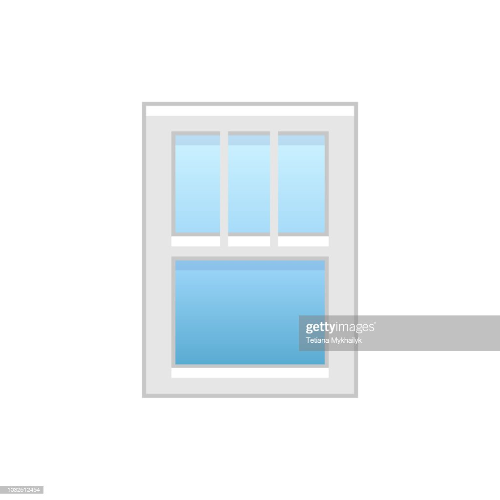 Vector illustration of vinyl single-hung window. Flat icon of traditional aluminum sash window with vertical bars on top panel. Isolated on white background.
