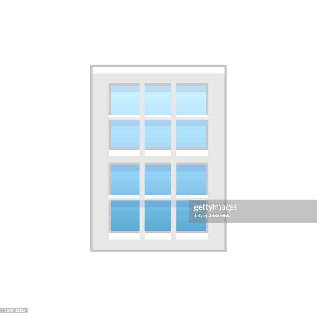 Vector illustration of vinyl single-hung window. Flat icon of traditional aluminum sash window with vertical & horizontal bars on both panels. Isolated on white background.