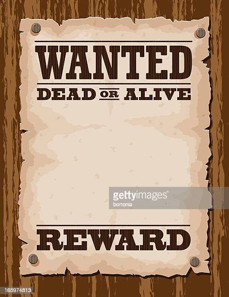 vector illustration of wanted poster template - wild west stock illustrations