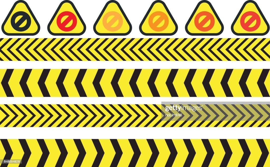 vector illustration of warning icons