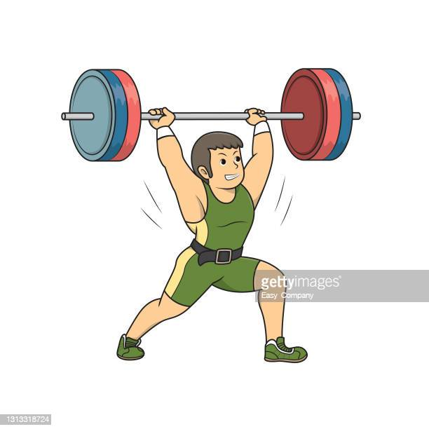 vector illustration of weightlifting athlete lifting the barbell over his head isolated on white background. bodybuilder and sport concepts. kids coloring page. color cartoon character clipart. - women's weightlifting stock illustrations