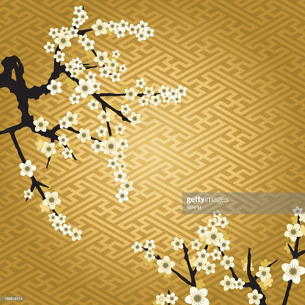 Vector illustration of white cherry blossoms on gold pattern
