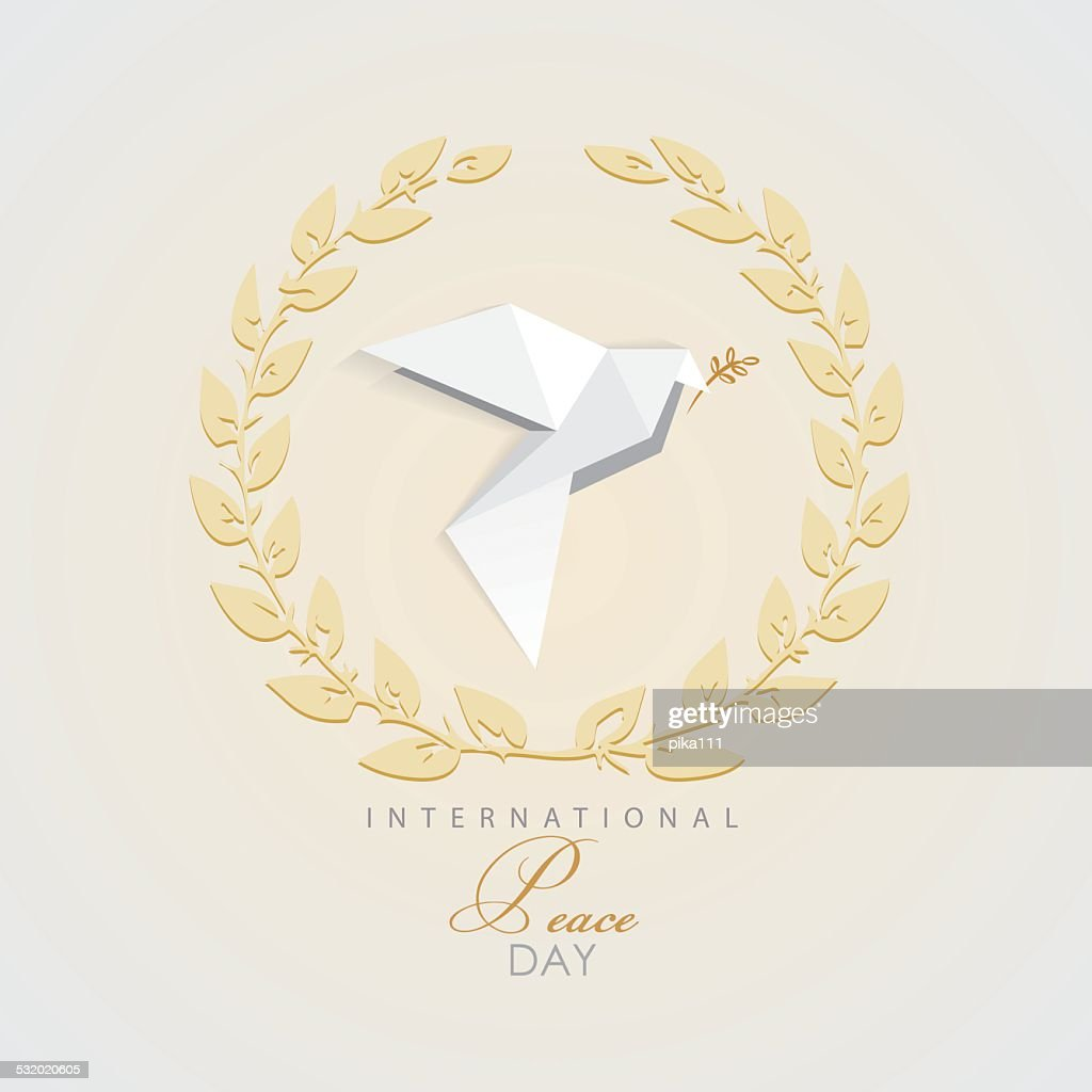 vector illustration of white dove surrounded by olive branch frame