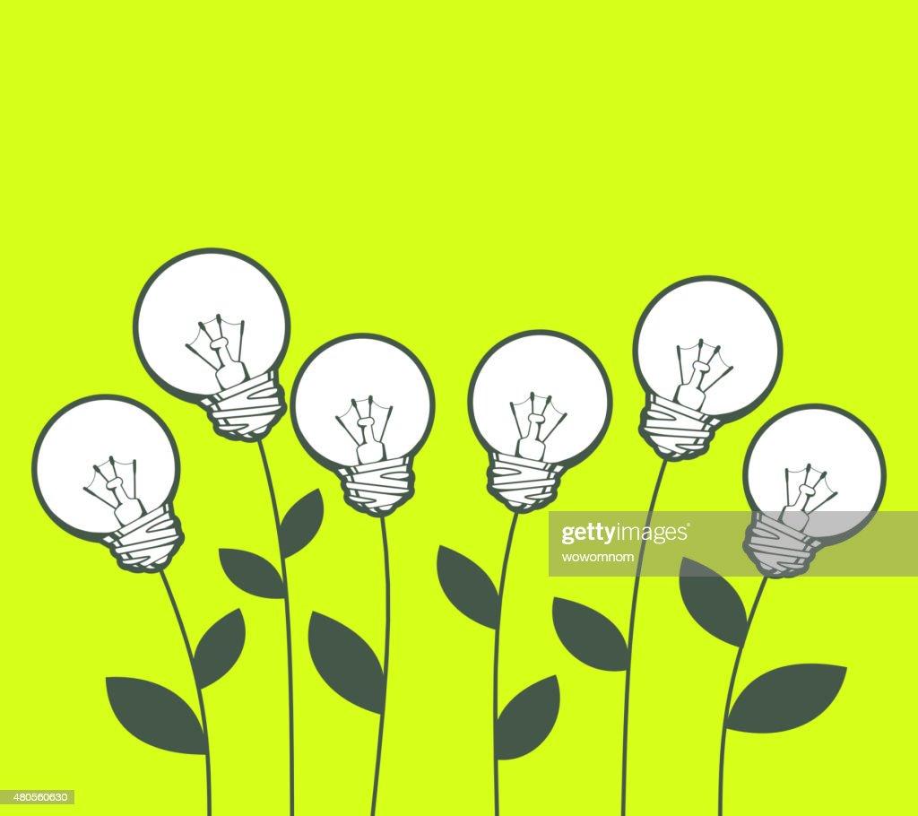 Vector illustration of white lightbulbs growing on green : Vector Art