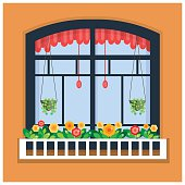 Vector illustration of window with flowers