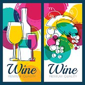 Vector illustration of wine bottle, glass, grape and watercolor background.