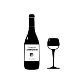 """Vector illustration of wineglass, bottle and sticker with text """"Château de Loremipsum"""""""