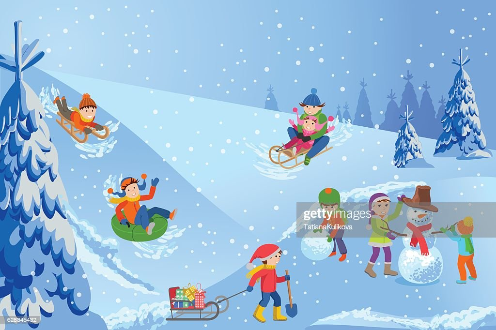 Vector illustration of winter landscape happy children playing with snowman