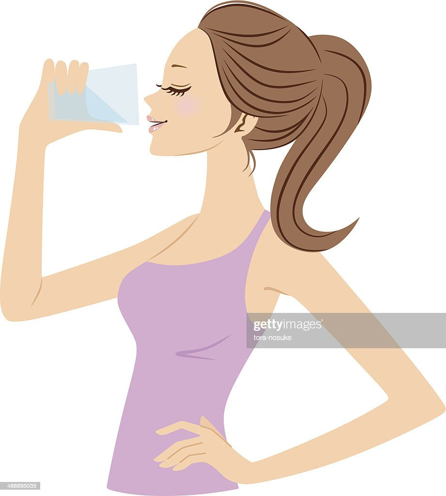 Vector illustration of woman drinking water