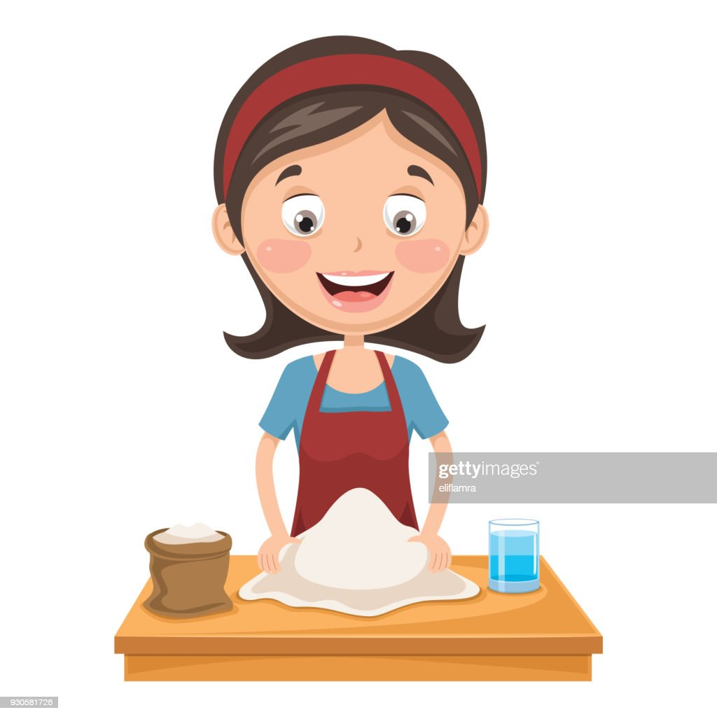 Vector Illustration Of Woman Kneading Dough