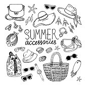 Vector illustration of women's accessories set.