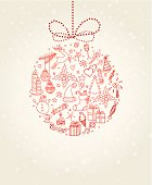 Vector illustration of Xmas doodle ball