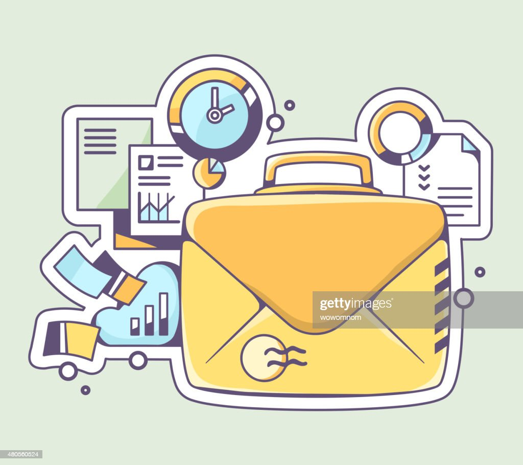 Vector illustration of yellow briefcase envelope and financial : Vector Art
