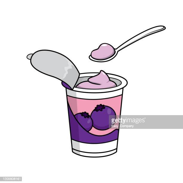 vector illustration of yogurt isolated on white background for kids coloring activity worksheet/workbook. - breakfast cartoon stock illustrations