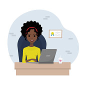 Vector illustration of young african-american business lady working on the notebook.