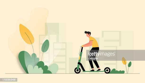 illustrations, cliparts, dessins animés et icônes de illustration de vecteur du jeune homme conduisant le scooter électrique. conception moderne plate pour la page web, la bannière, la présentation etc. - génération du millénaire